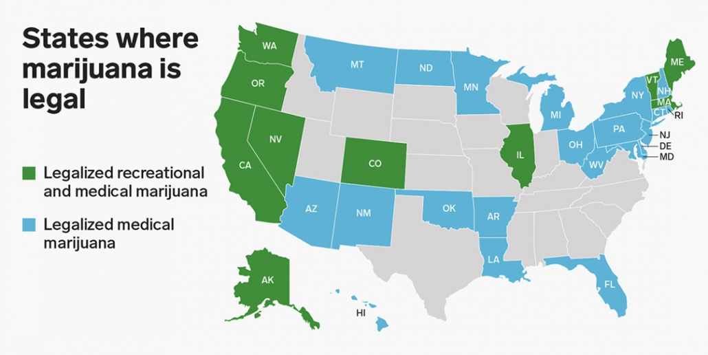 Map of USA showing which US states have legalised recreation or medical cannabis.