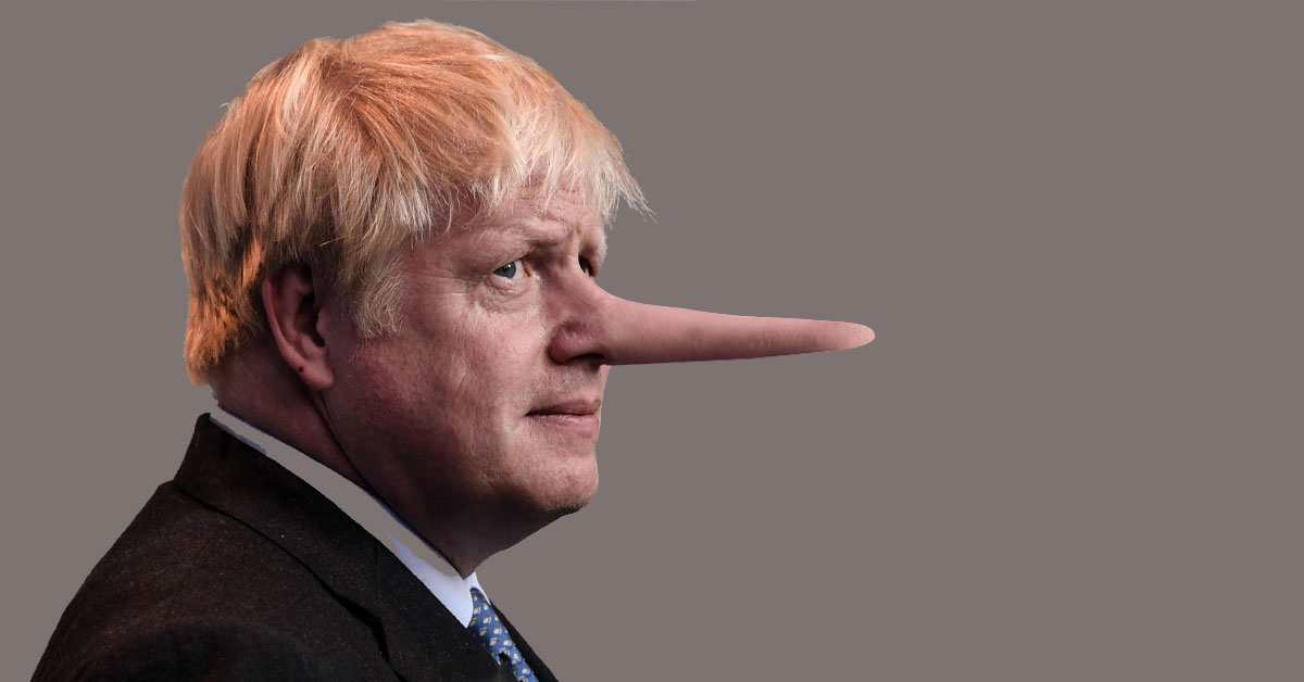 A depiction of lying British Prime Minister, Boris Johnson, with a long nose