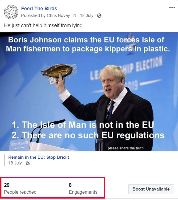 Boris Johnson lies that the EU forces the Isle of Man to package kippers in plastic and doesn't realise the Isle of Man is not part of the UK.