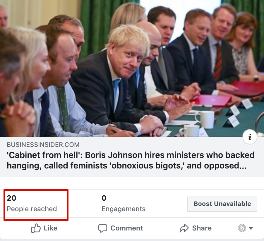 Borish Johnson cabinet from hell article was only shown to 20 people on Facebook, despite the page having over 16k likes.