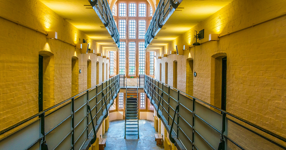 Photo of the inside of a British prison.