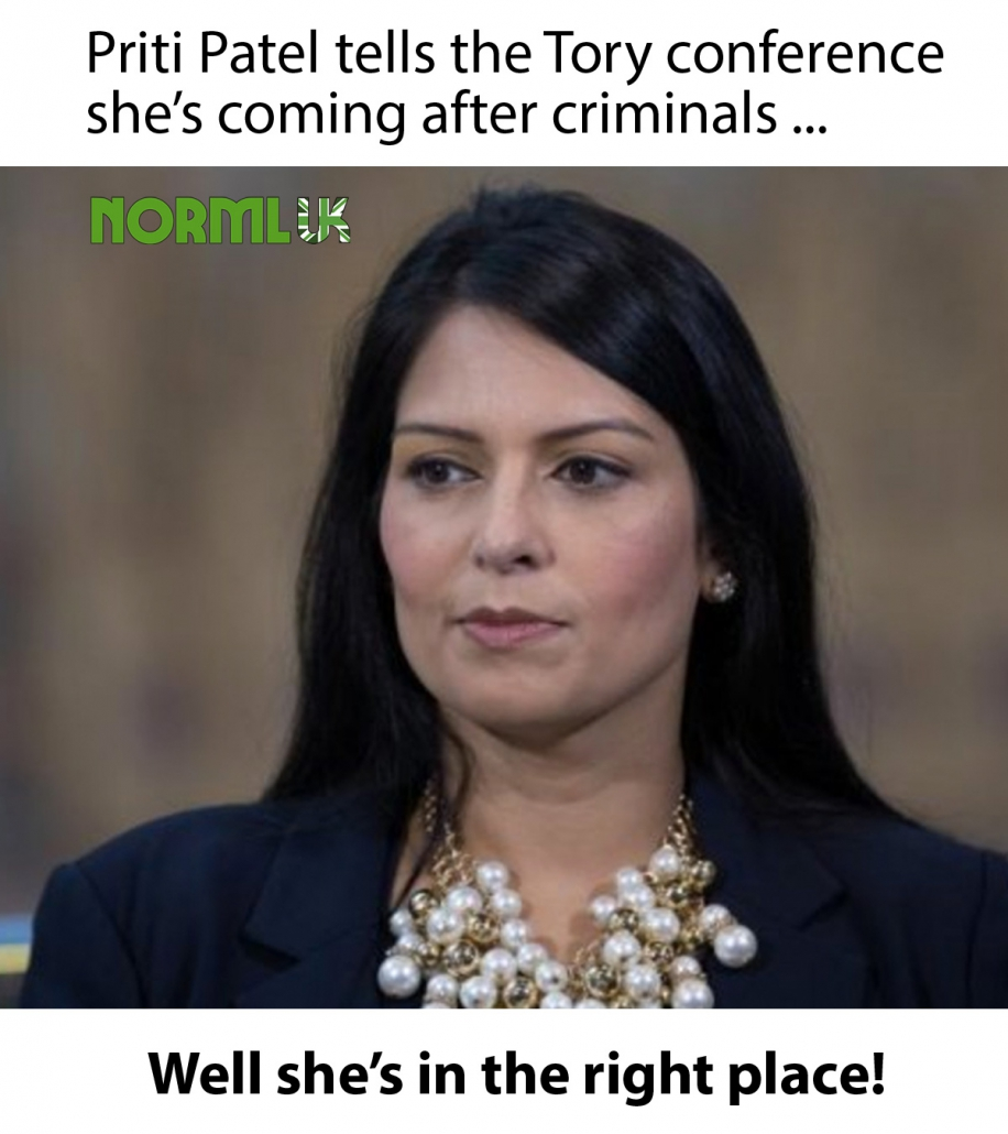 Priti Patel, Conservative Home Secretary with caption: 'Priti Patel tells the Tory conference she's coming after criminals ... Well she's in the right place!