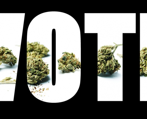 Vote in large letters with cannabis buds in the font.