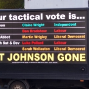 Tactical voting van in Devon urging people to vote for the party best places to beat the Conservatives.