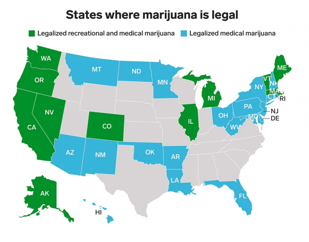Map of legal marijuana states in the USA.