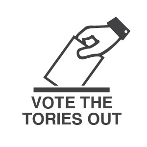 "Cartoon of someone voting in a ballot box with caption ""VOTE THE TORIES OUT""."