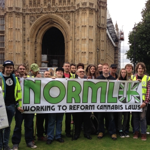 NORML UK cannabis protest outside London's Parliament.