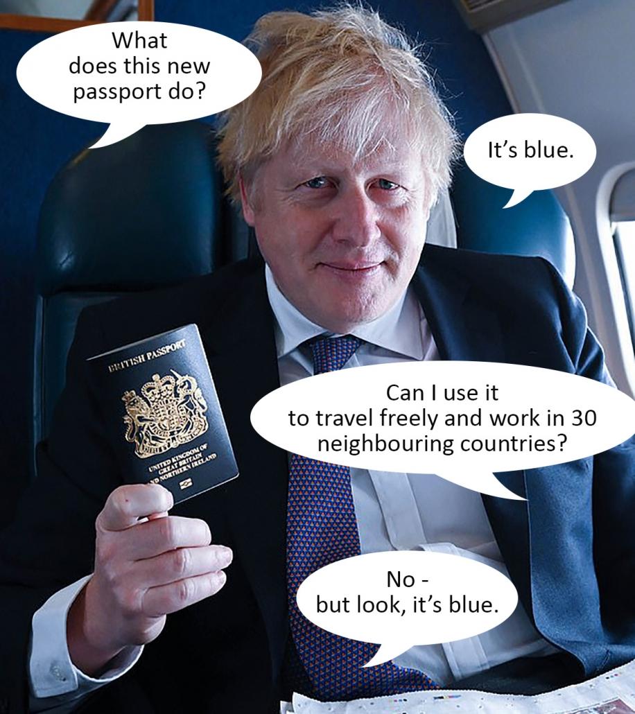 Boris Johnson on a plane showing off the new blue British passport.