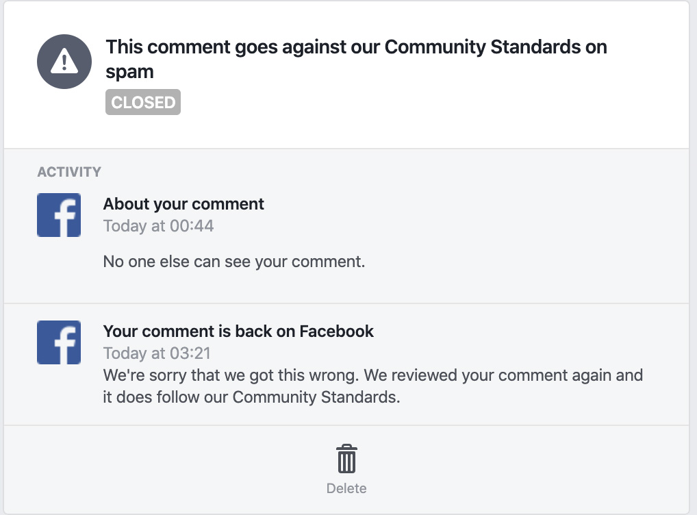 Notification from Facebook saying they made a mistake and put comment back up.