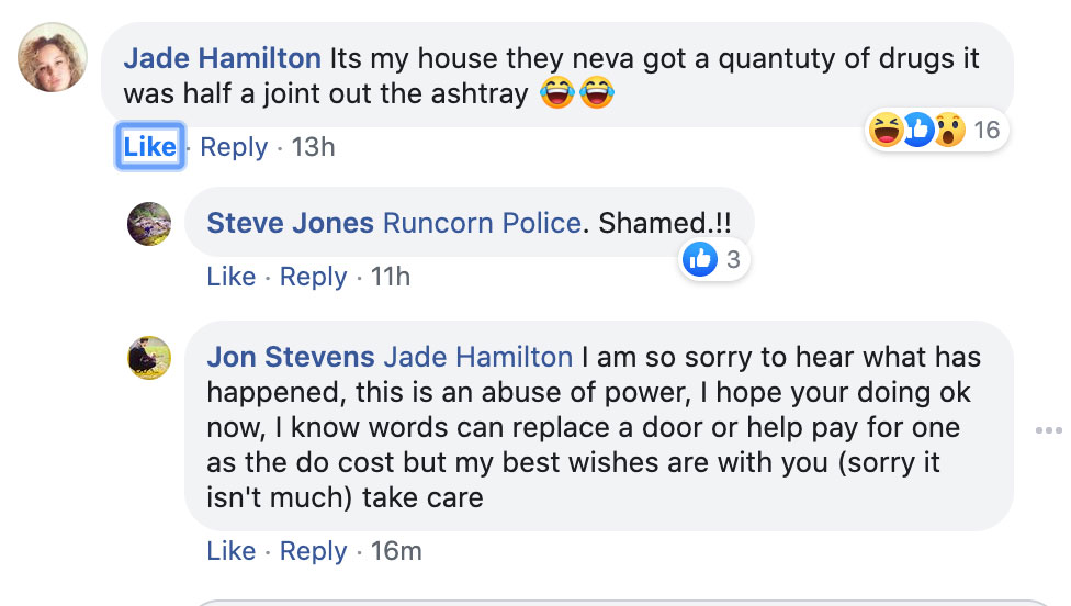 Comment by Jade Hamilton on Runcorn police's Facebook page