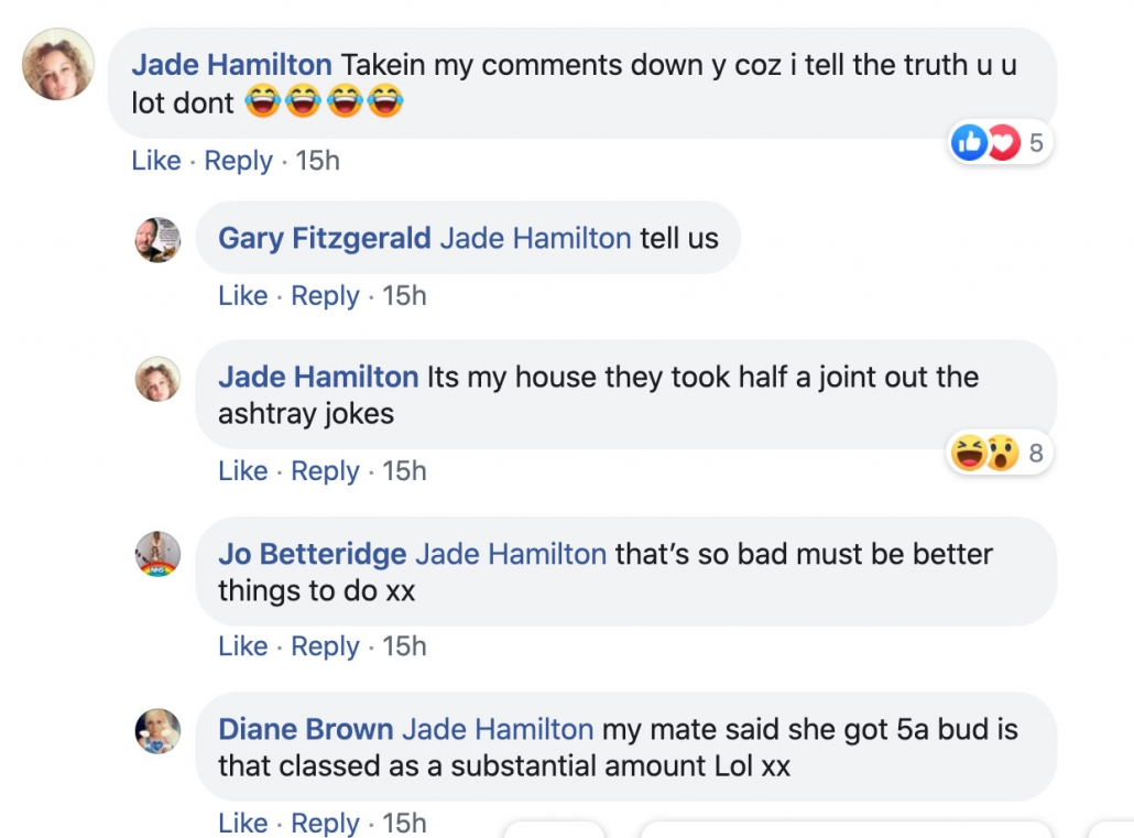 Jade Hamilton complains that Runcorn Police deleted her Facebook comment.