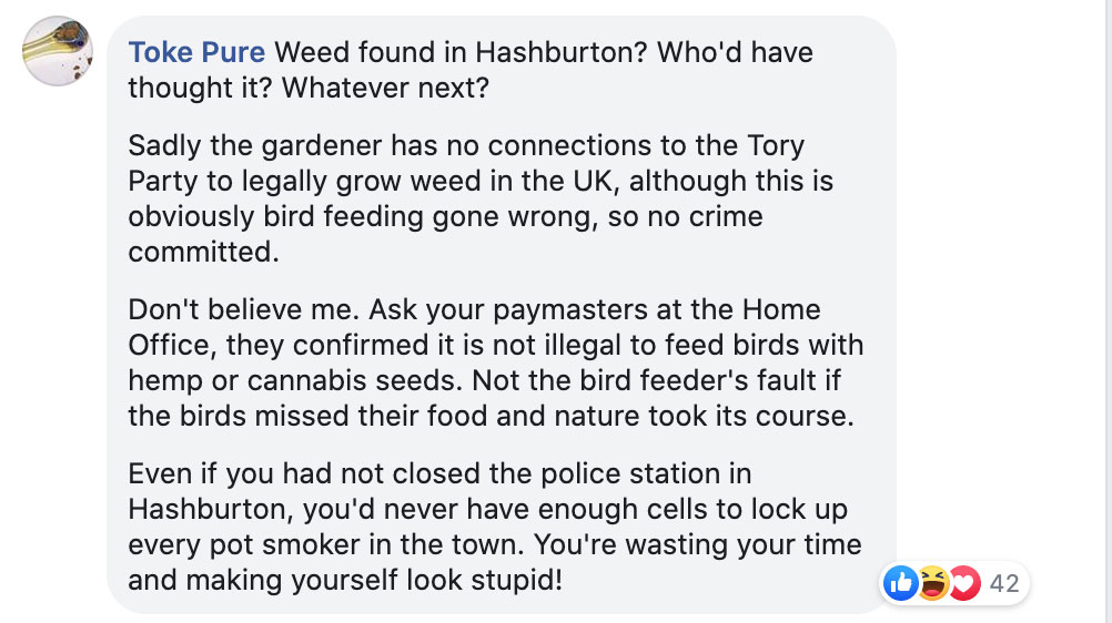 Toke Pure facebook comment on Ashburton Police's Facebook page.